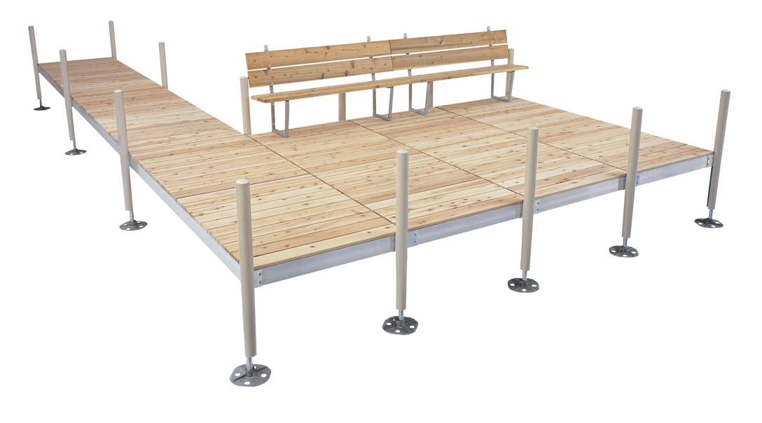 Aluminum Frame Sectional Dock with Cedar Decking  